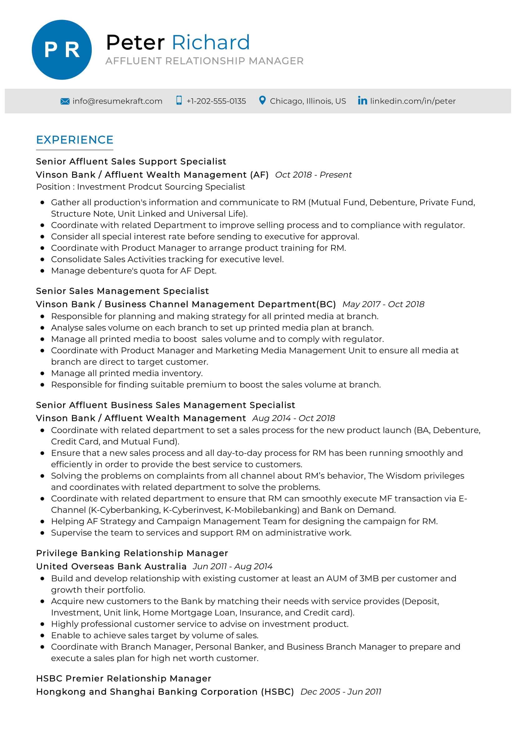 Affluent Relationship Manager Resume