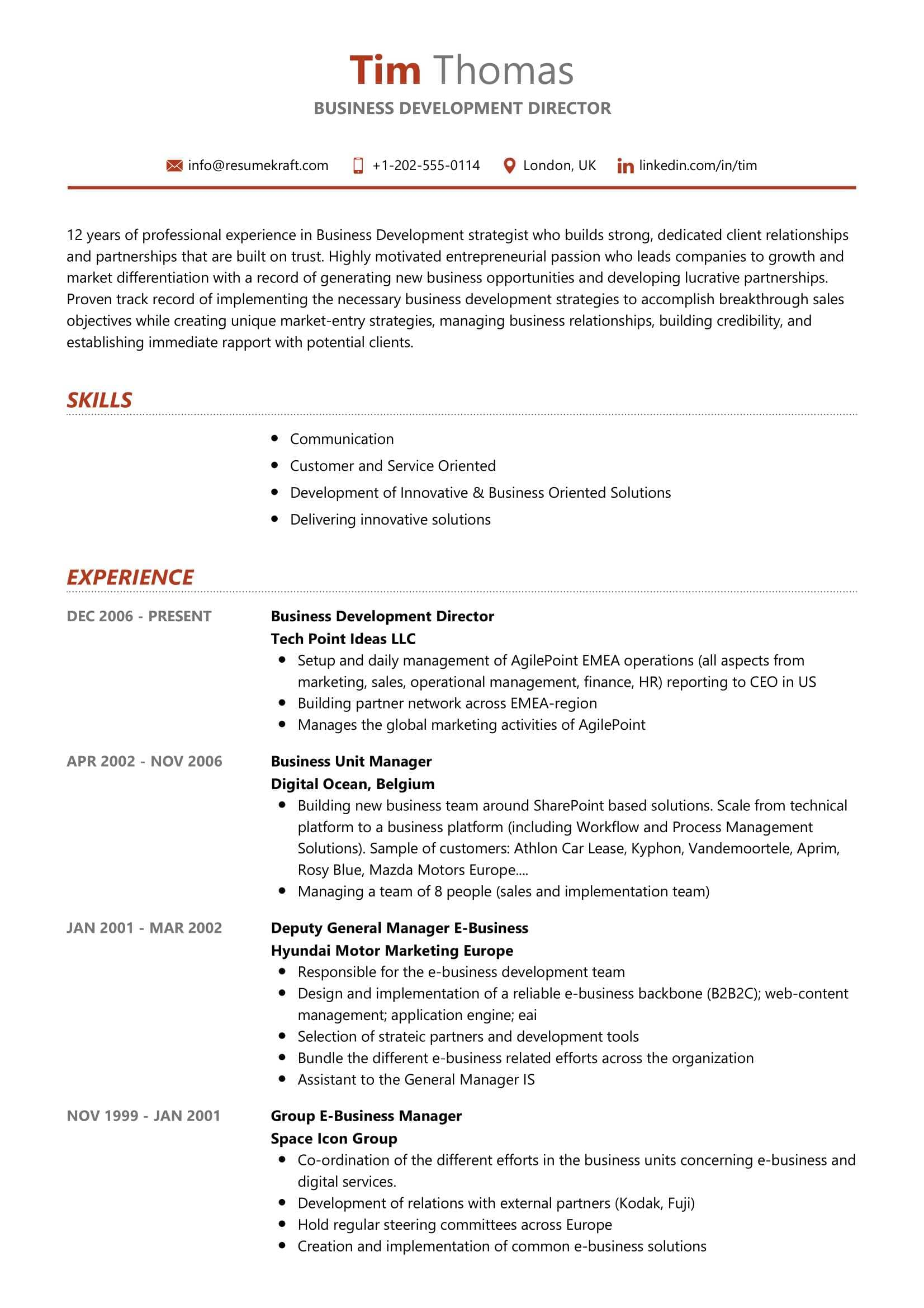 Business Development Director Resume Sample