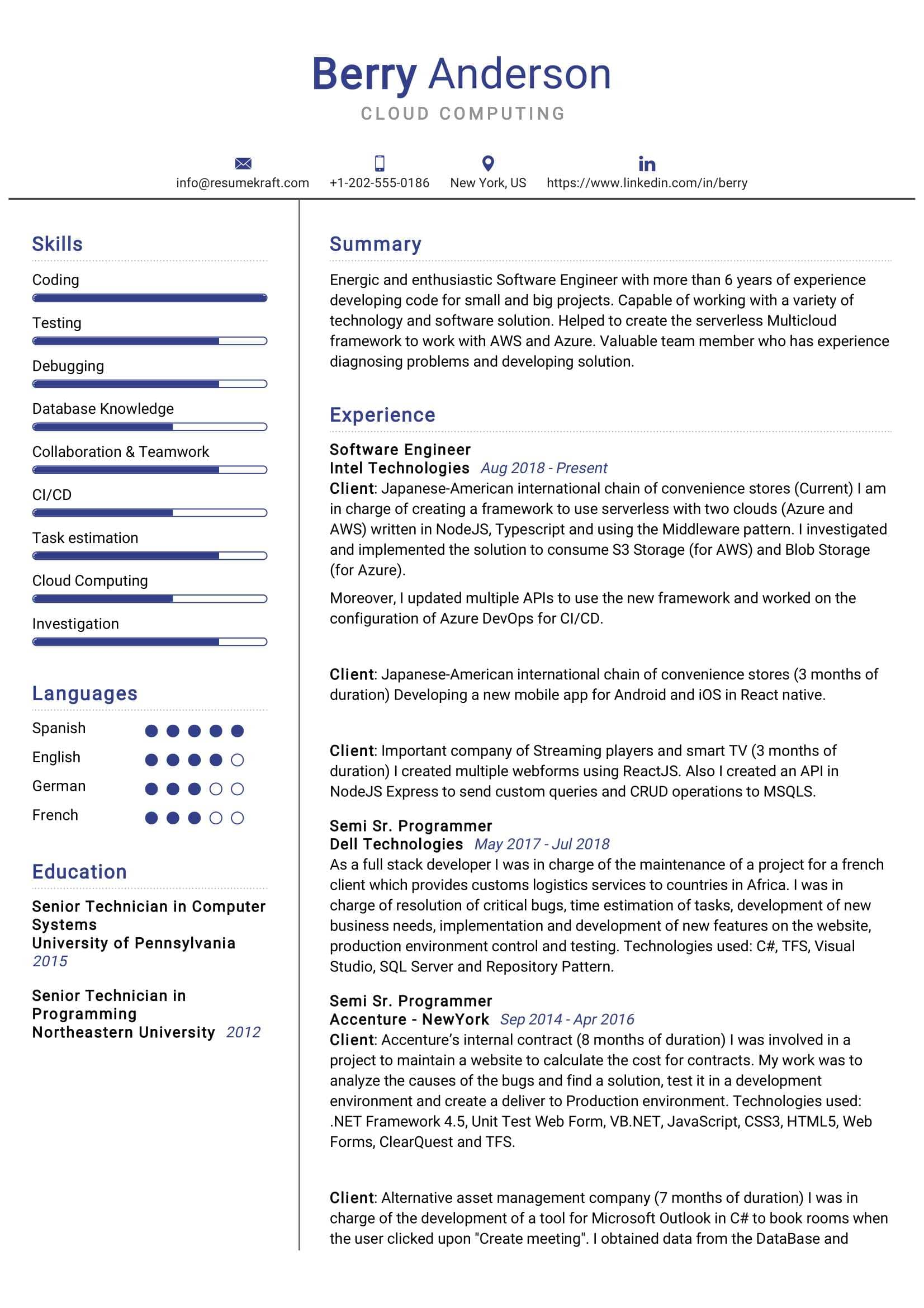 Cloud Computing Resume Sample