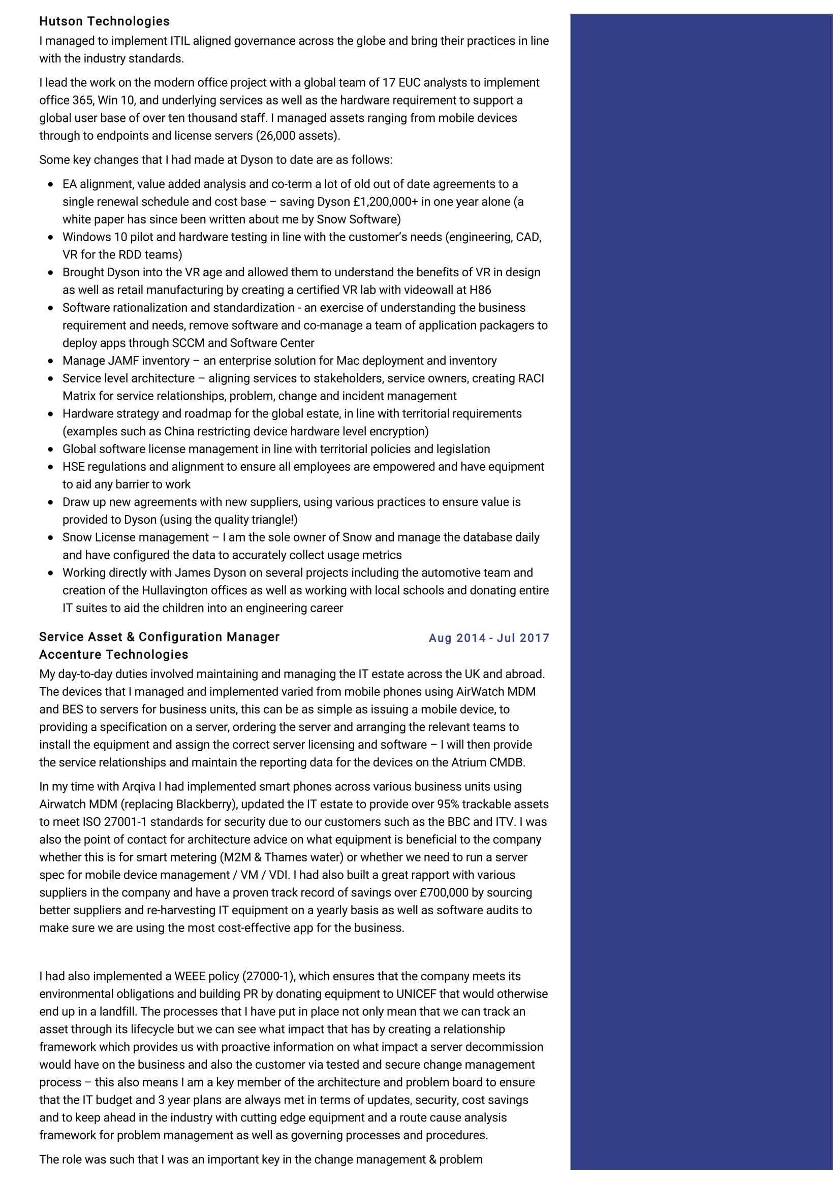it asset manager resume sample  resumekraft