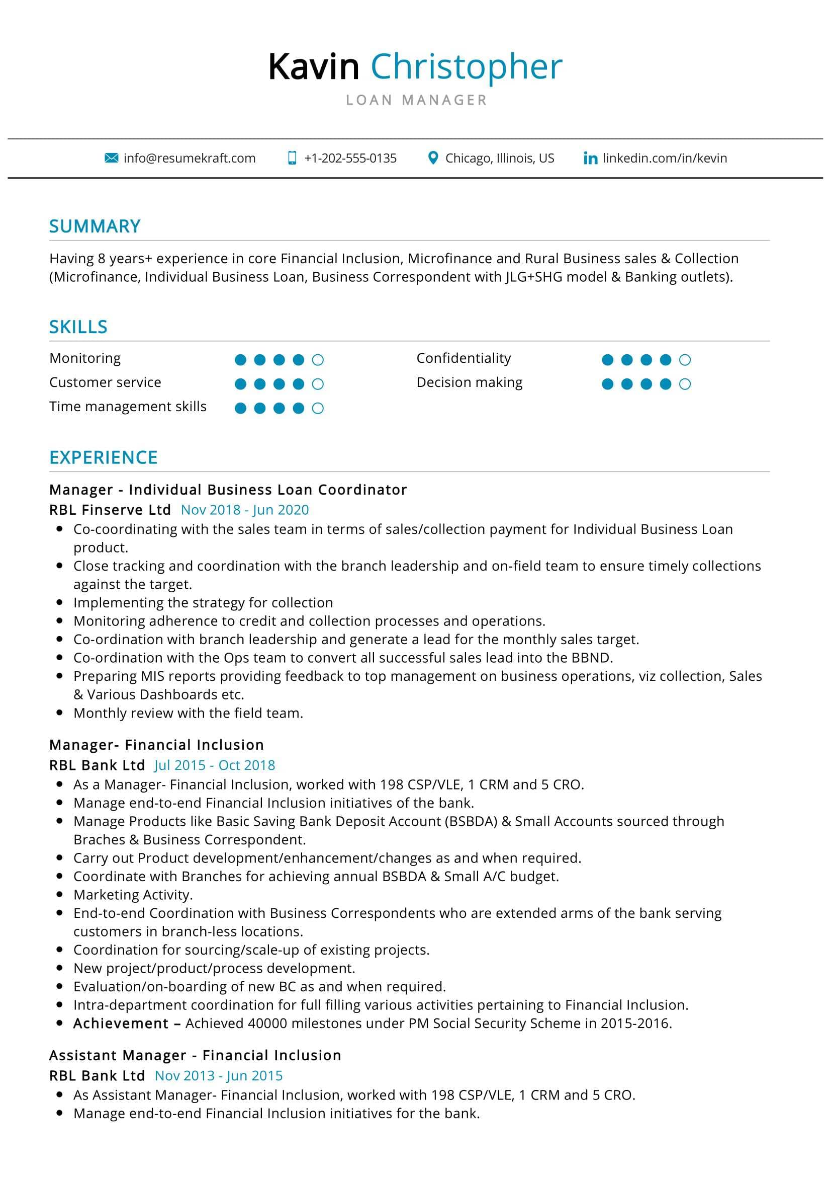 Loan Manager Resume Sample