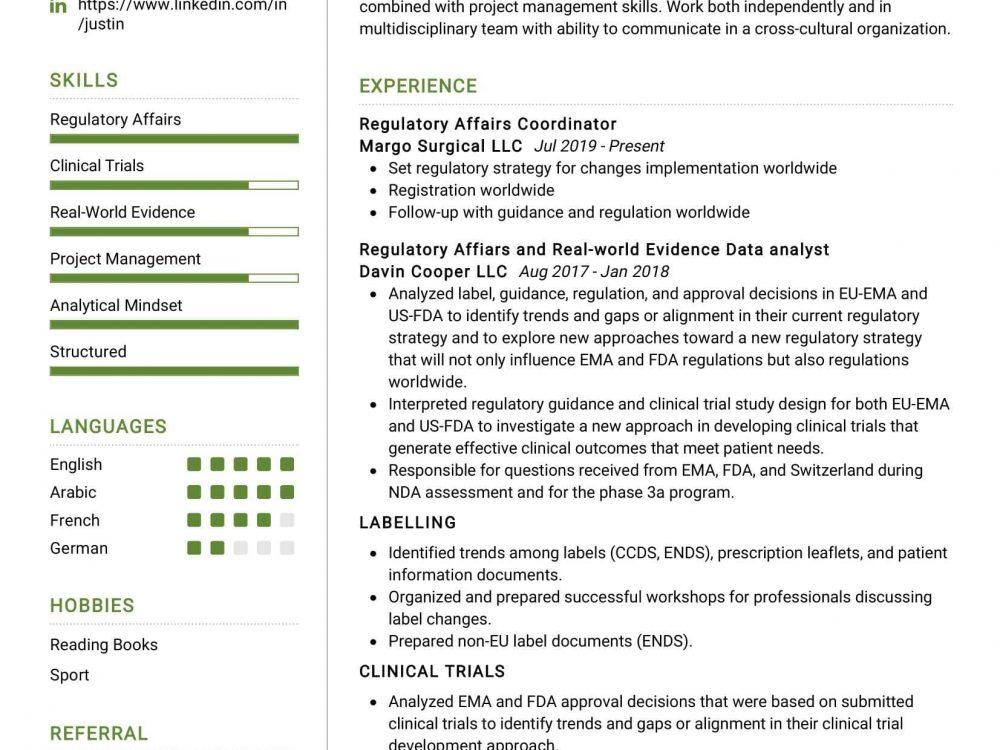 Regulatory Affairs Coordinator Resume