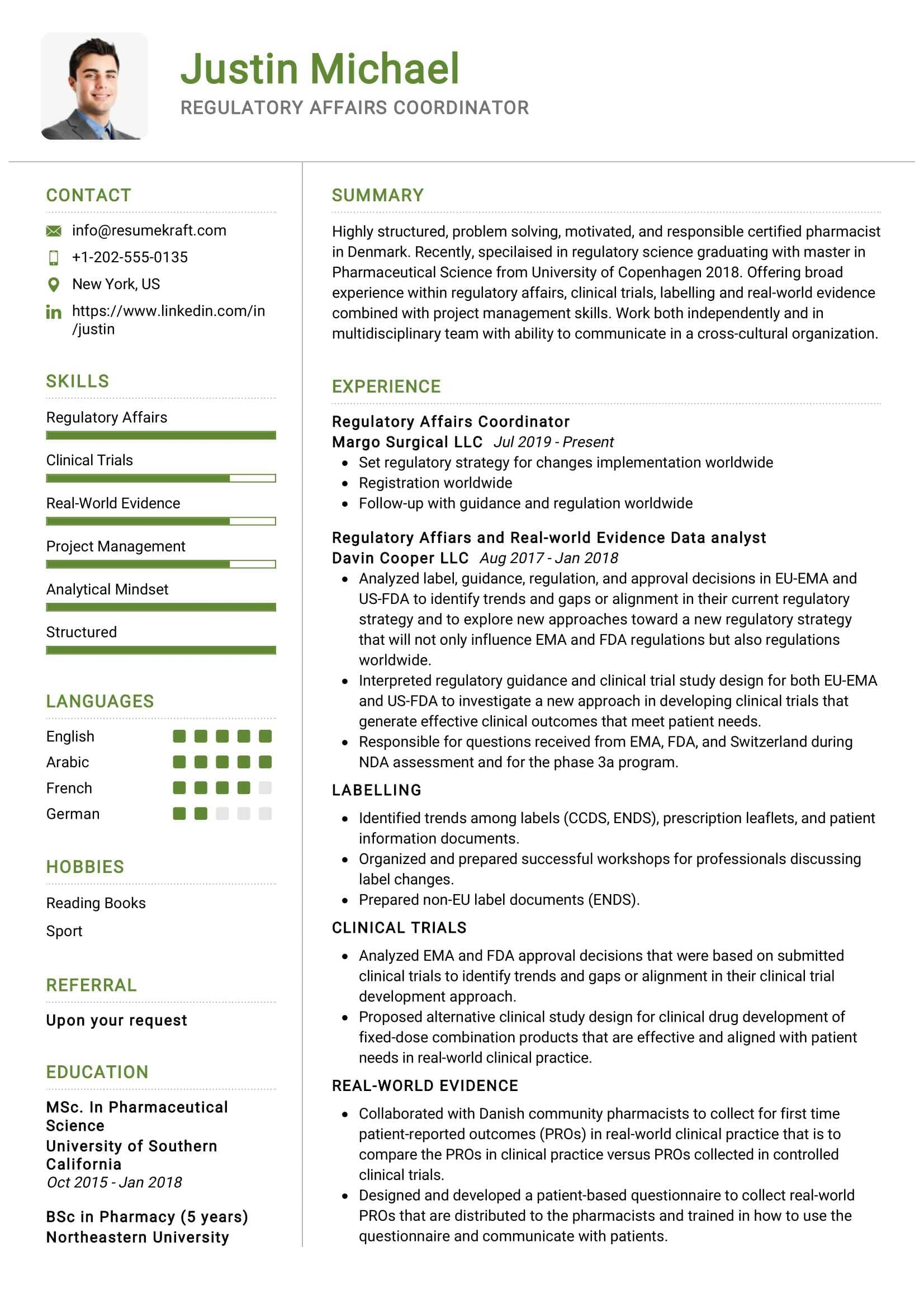 Regulatory Affairs Coordinator Resume