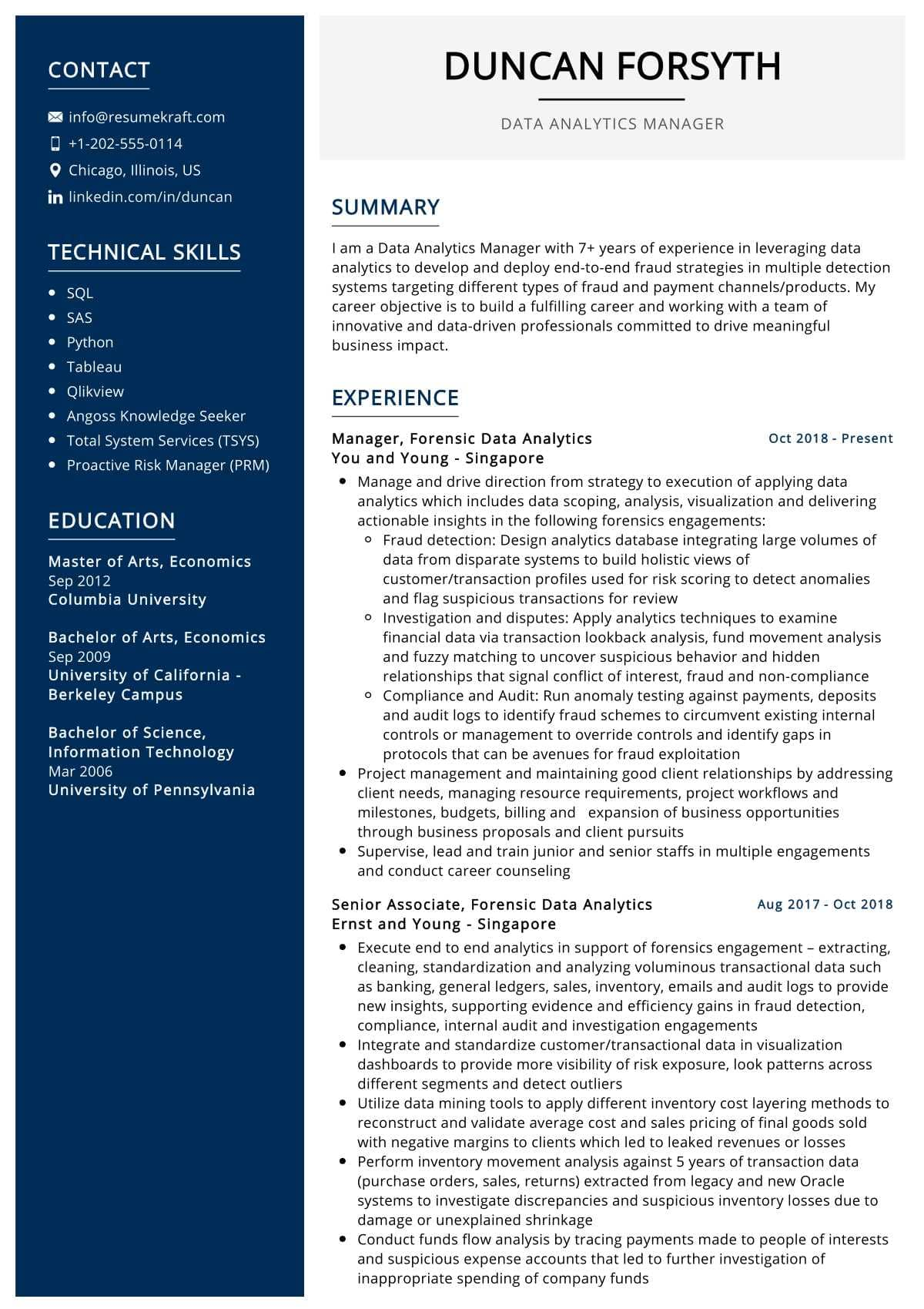 Data Analytics Manager Resume