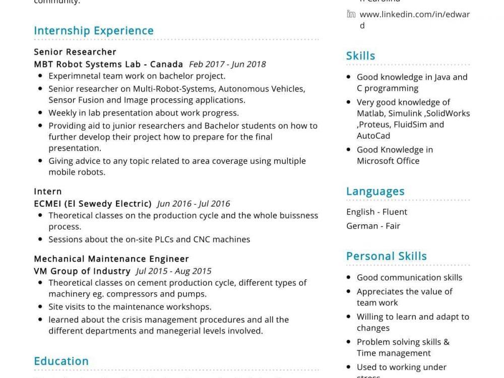 Mechatronics Engineer Resume