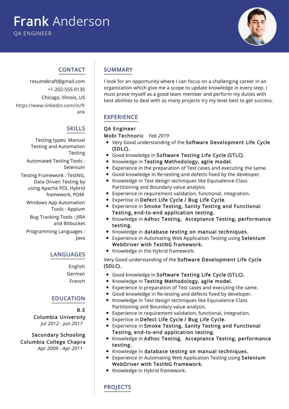 QA Engineer Resume