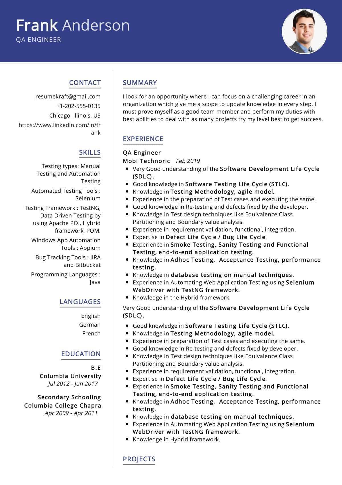 qa engineer resume sample  resumekraft