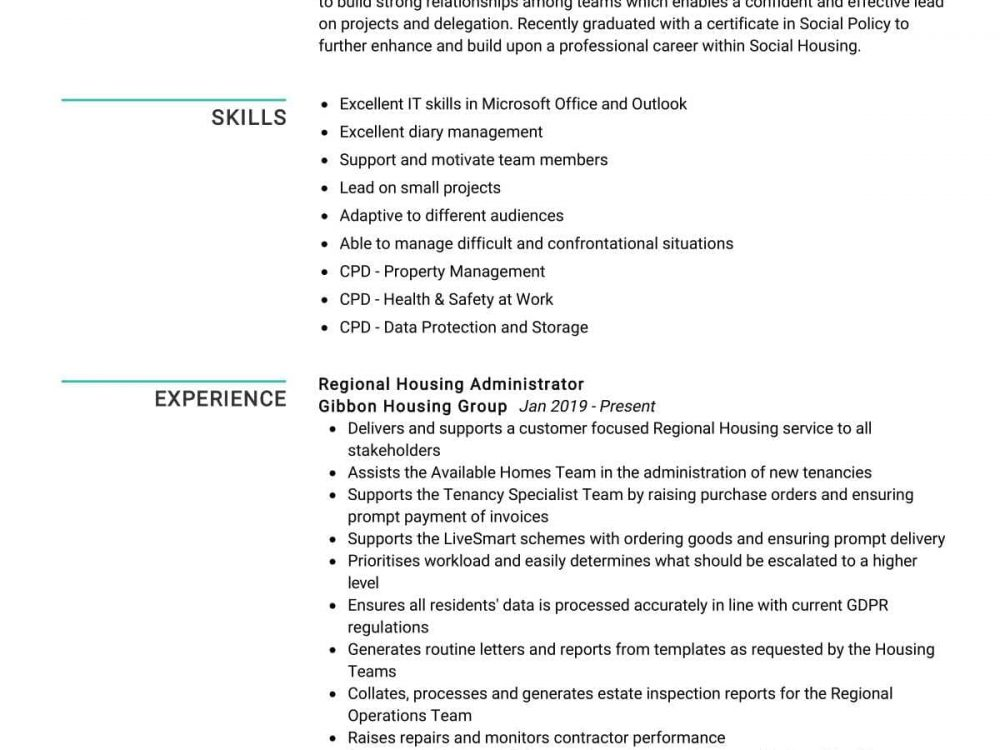 Regional Housing Administrator Resume