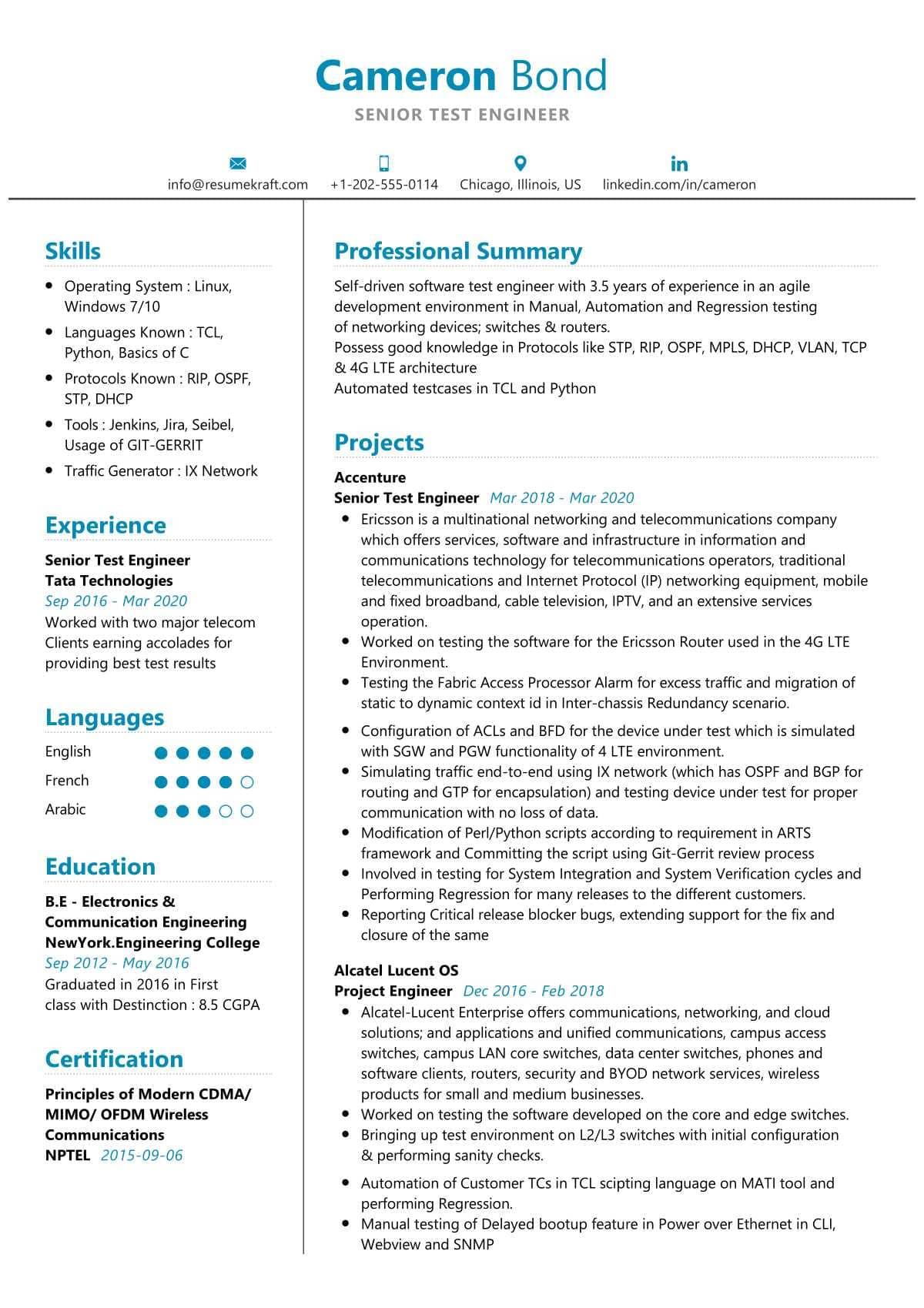 senior test engineer resume sample  resumekraft