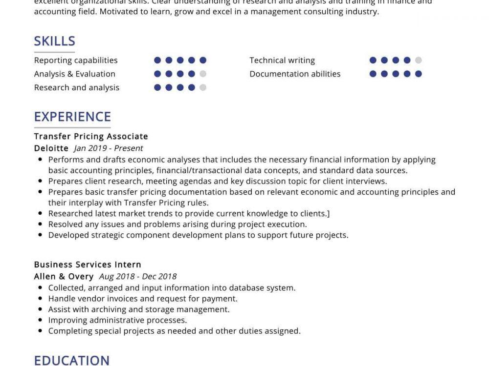 Transfer Pricing Consultant Resume