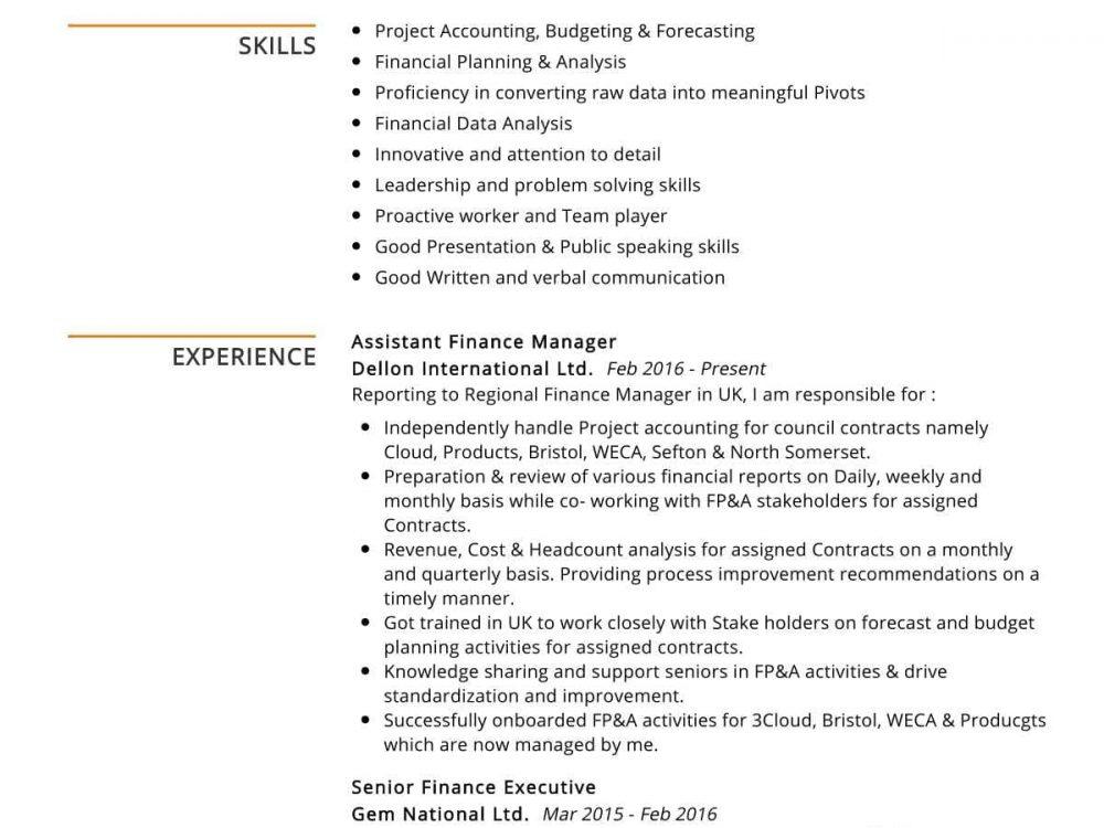 Assistant Finance Manager Resume