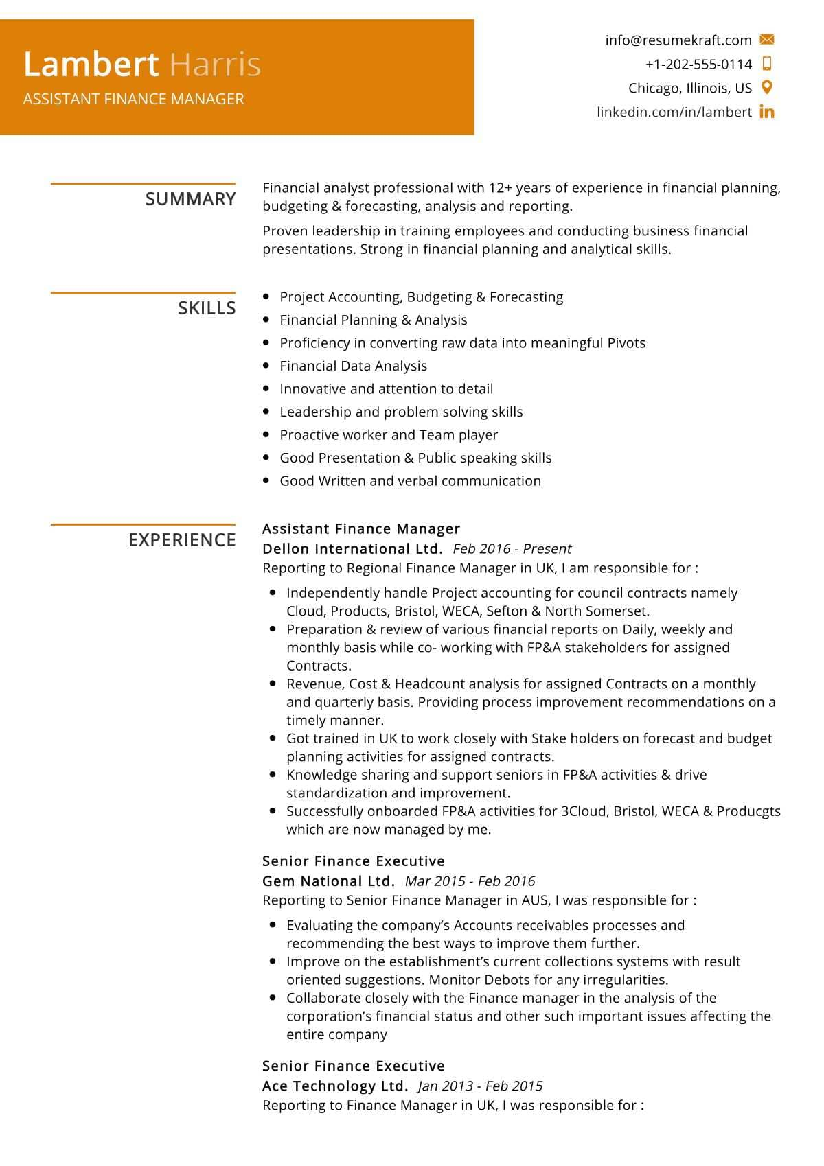 Assistant Finance Manager Resume