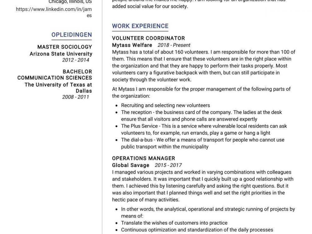 Coordinator Resume Sample
