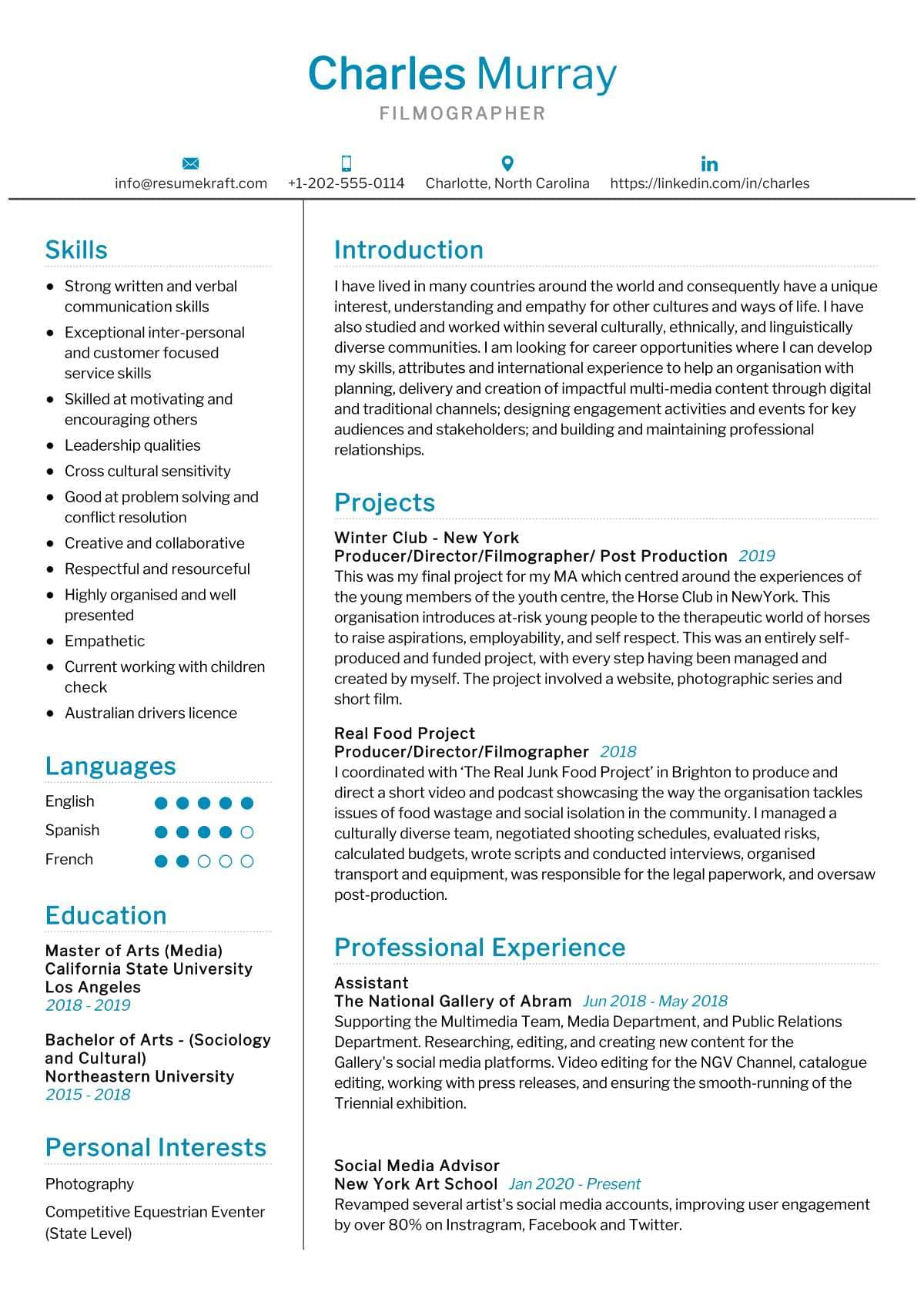 Filmographer Resume Sample