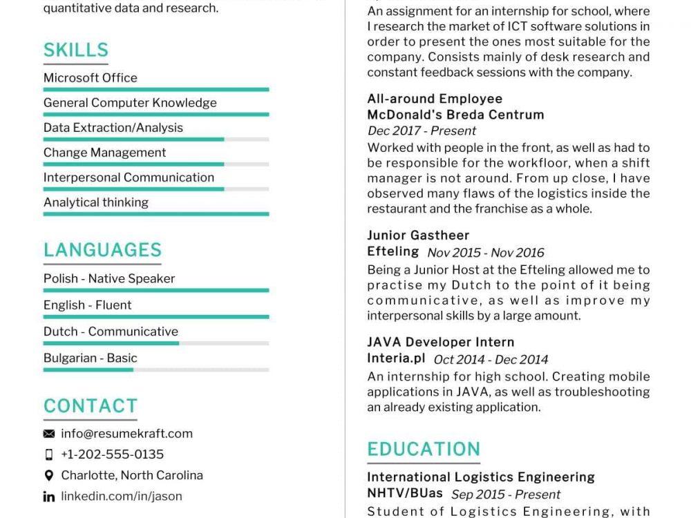 Logistics Engineering Resume Sample
