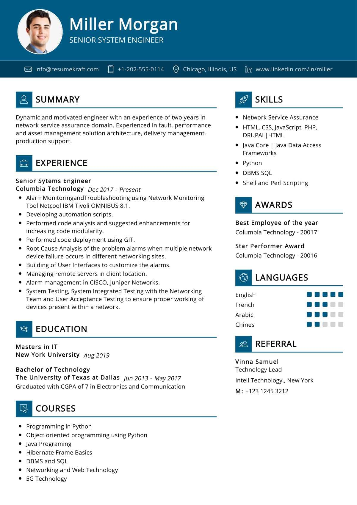 Senior System Engineer Resume