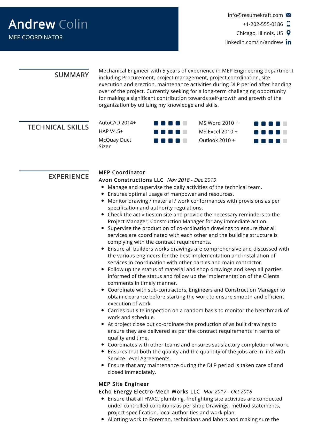 MEP Coordinator Resume Sample