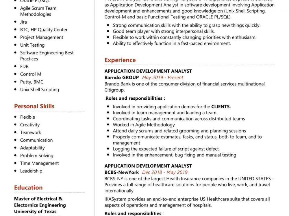 Application Development Analyst Resume Sample