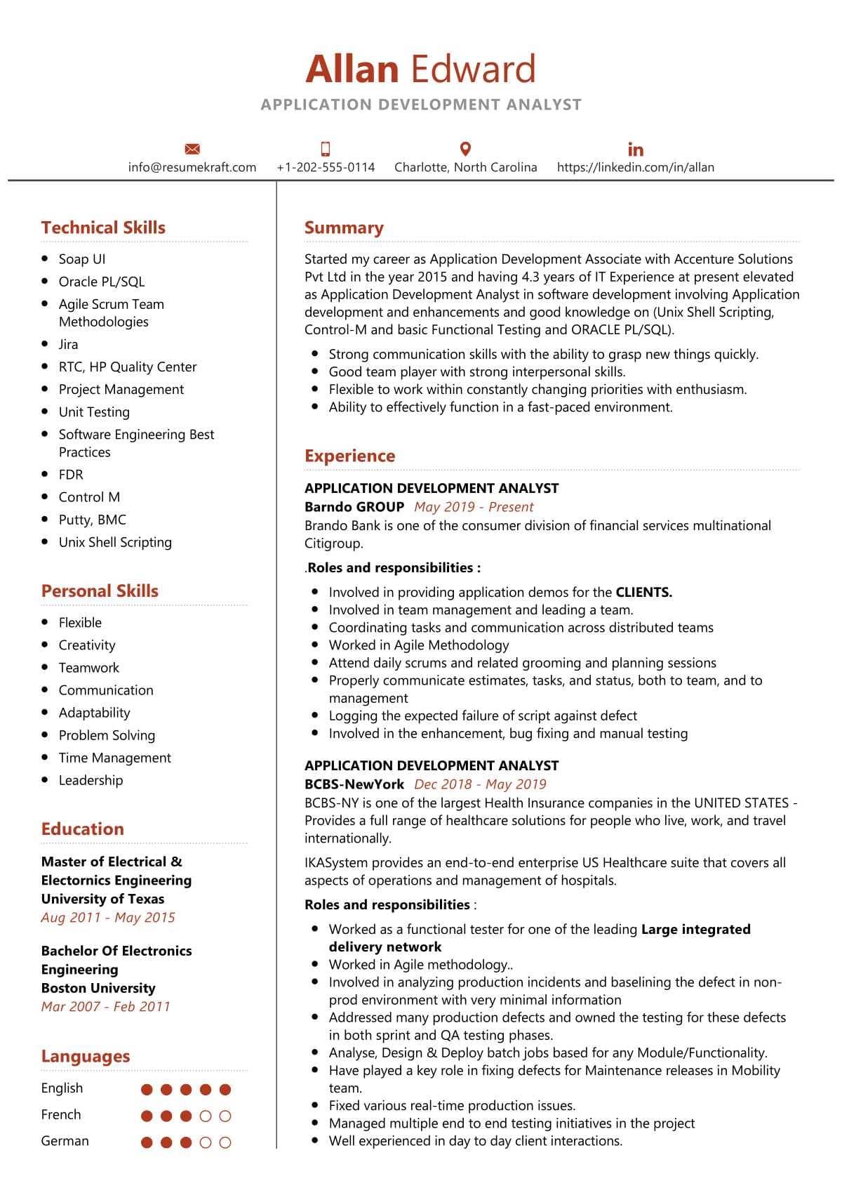 application development analyst resume sample  resumekraft