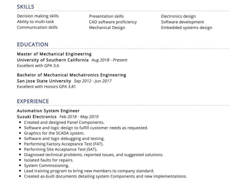 Automation System Engineer Resume Sample