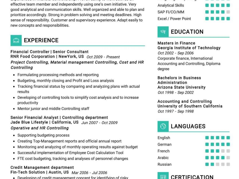 Financial Controller Resume