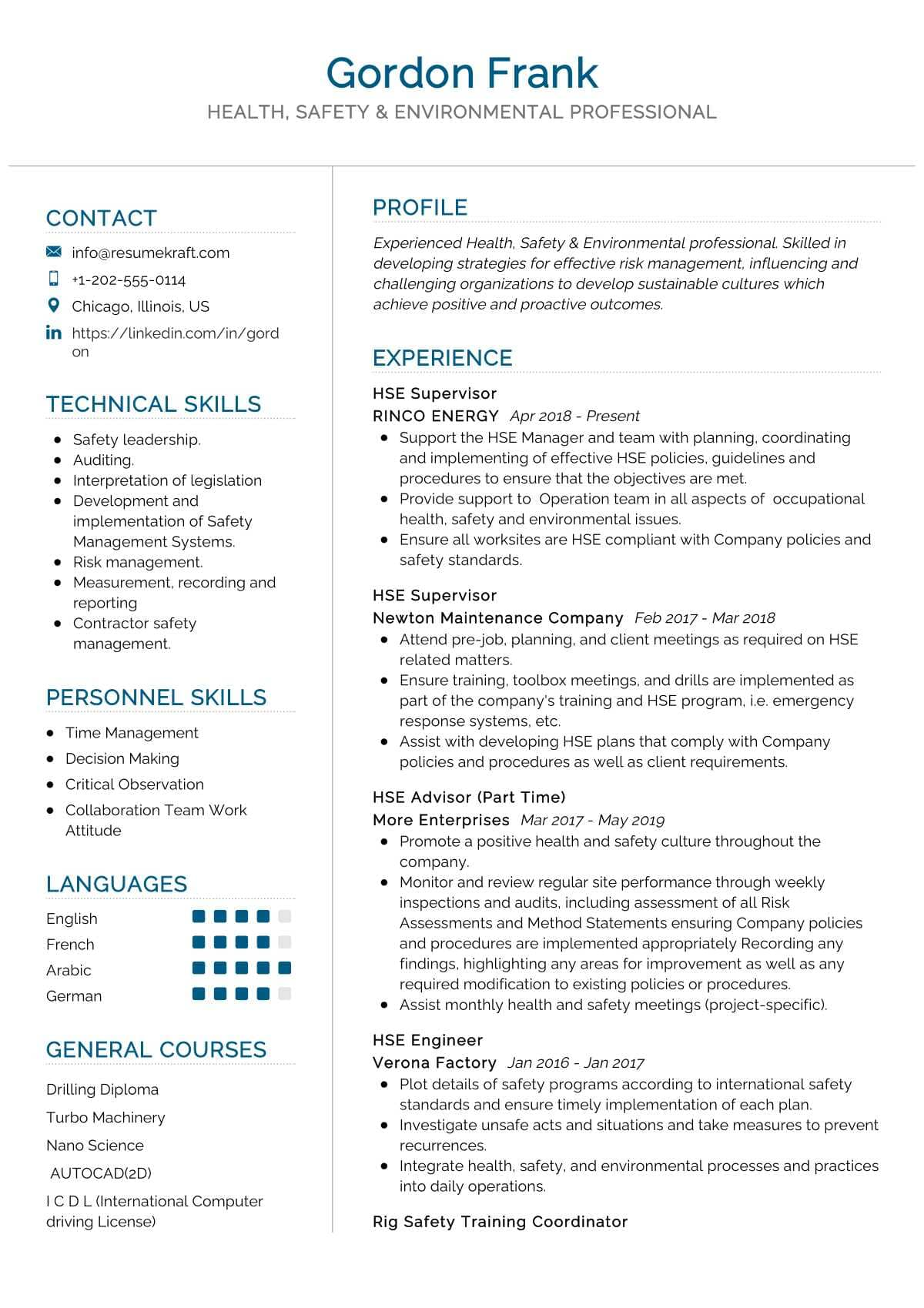 Health Safety Environment Resume