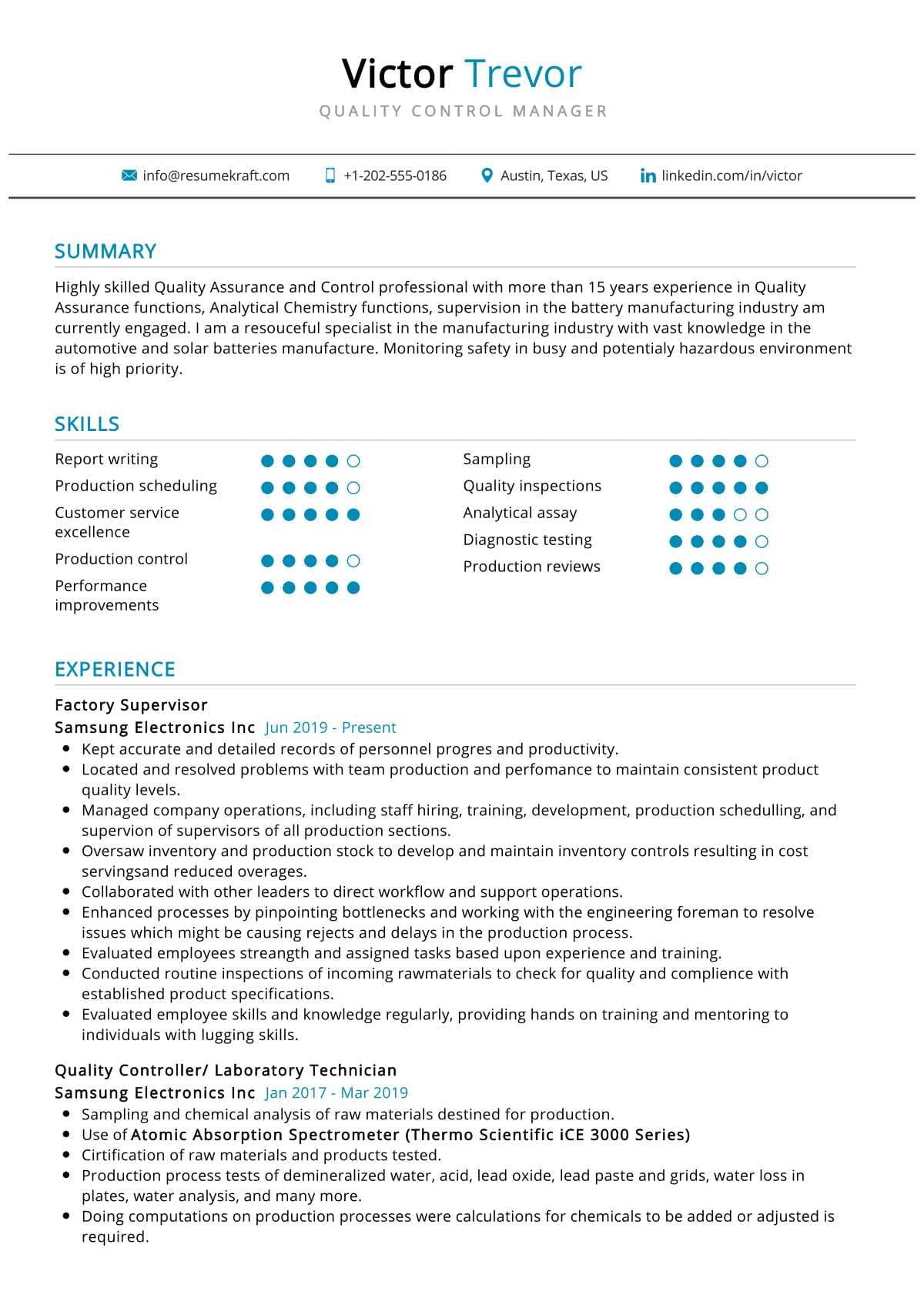 Quality Control Manager Resume