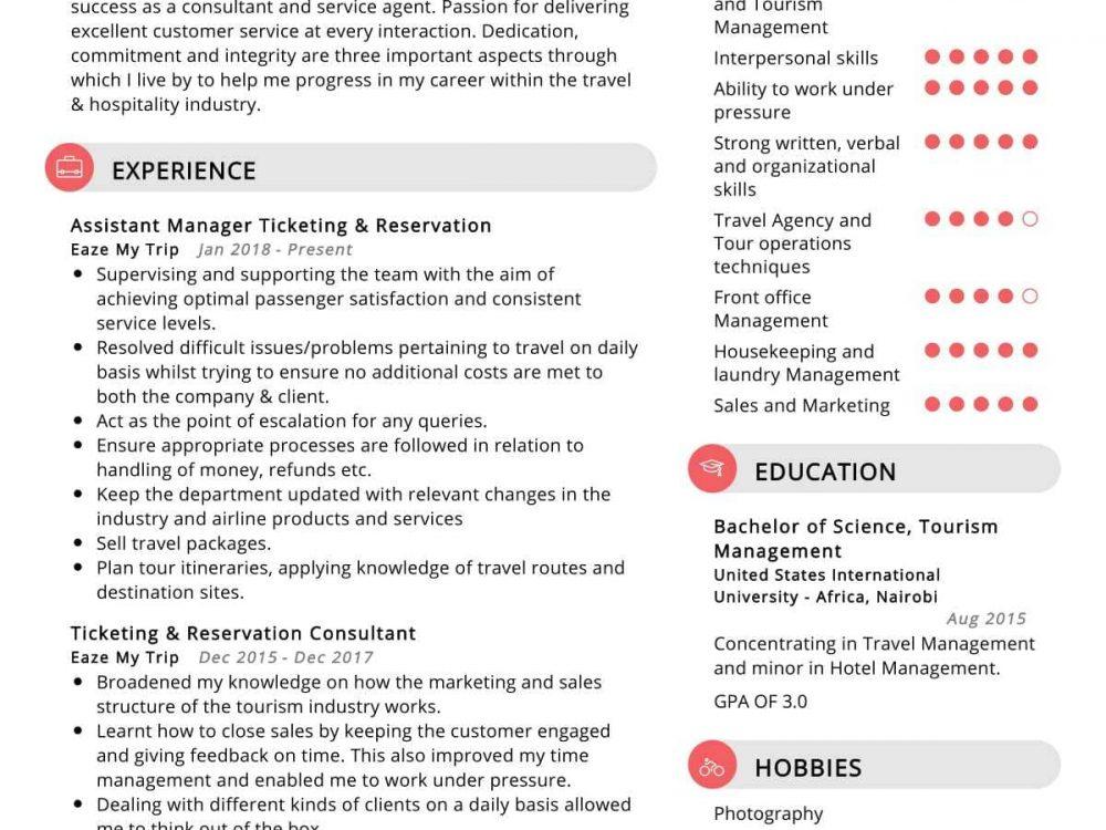 Ticketing Reservation Resume