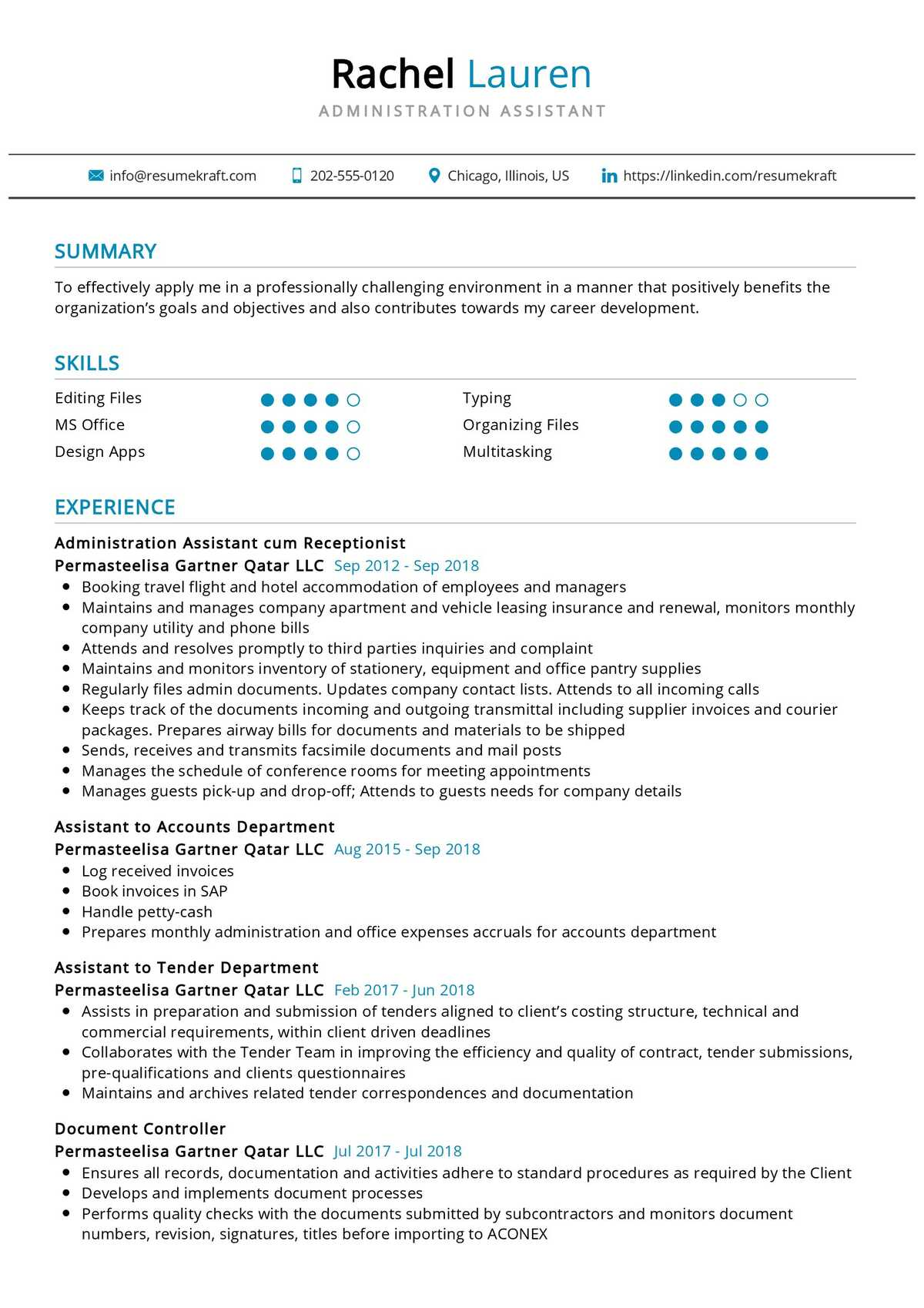 Administration Assistant Resume