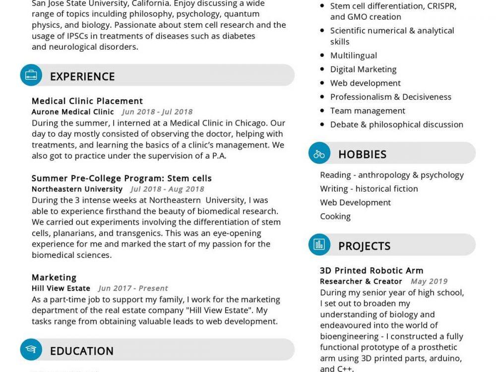 Biomedical Sciences Student Resume