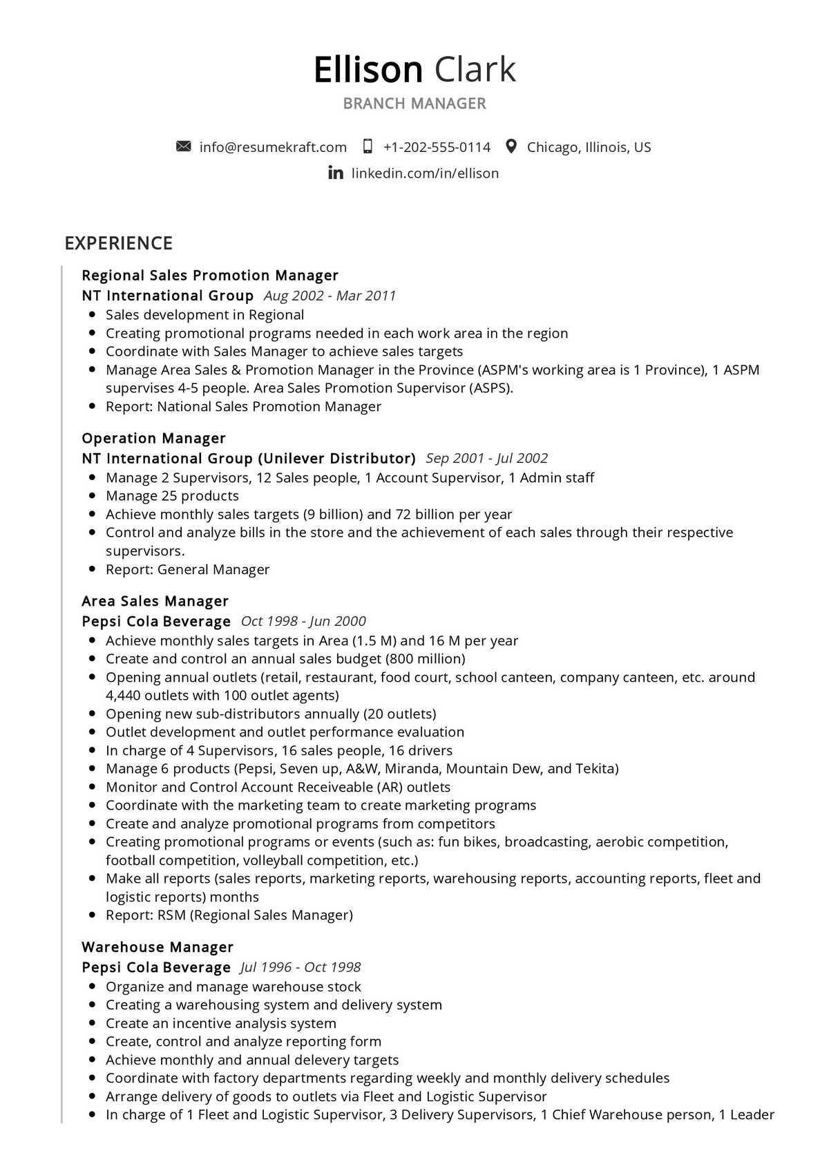 Branch Manager Resume Example