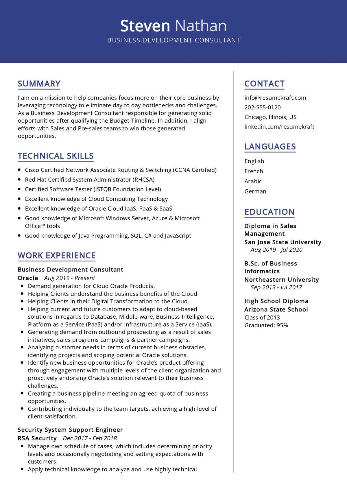 Business Development Consultant CV Sample - ResumeKraft