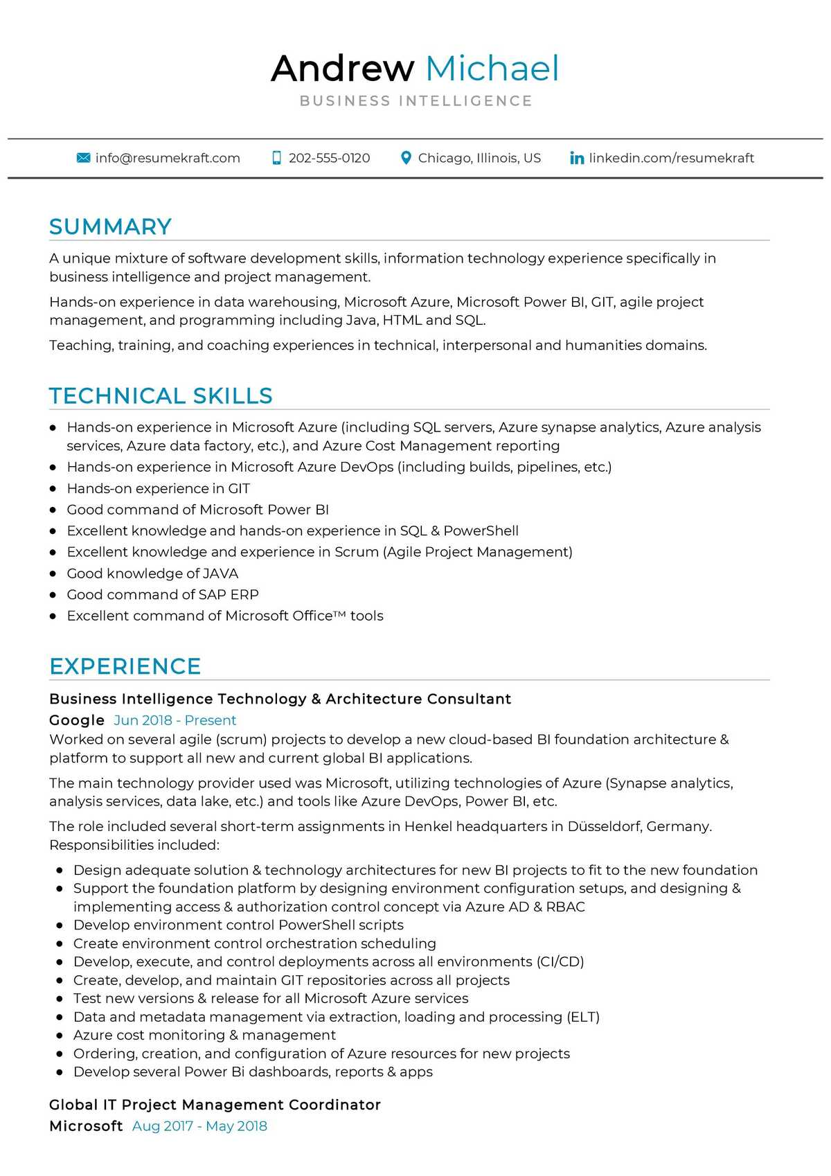 business intelligence resume sample  resumekraft