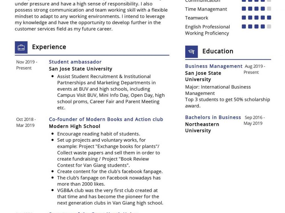 Business Management Student Resume