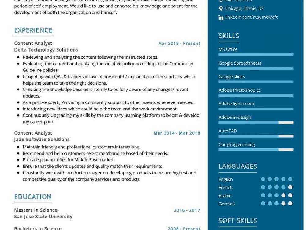 Content Analyst Resume