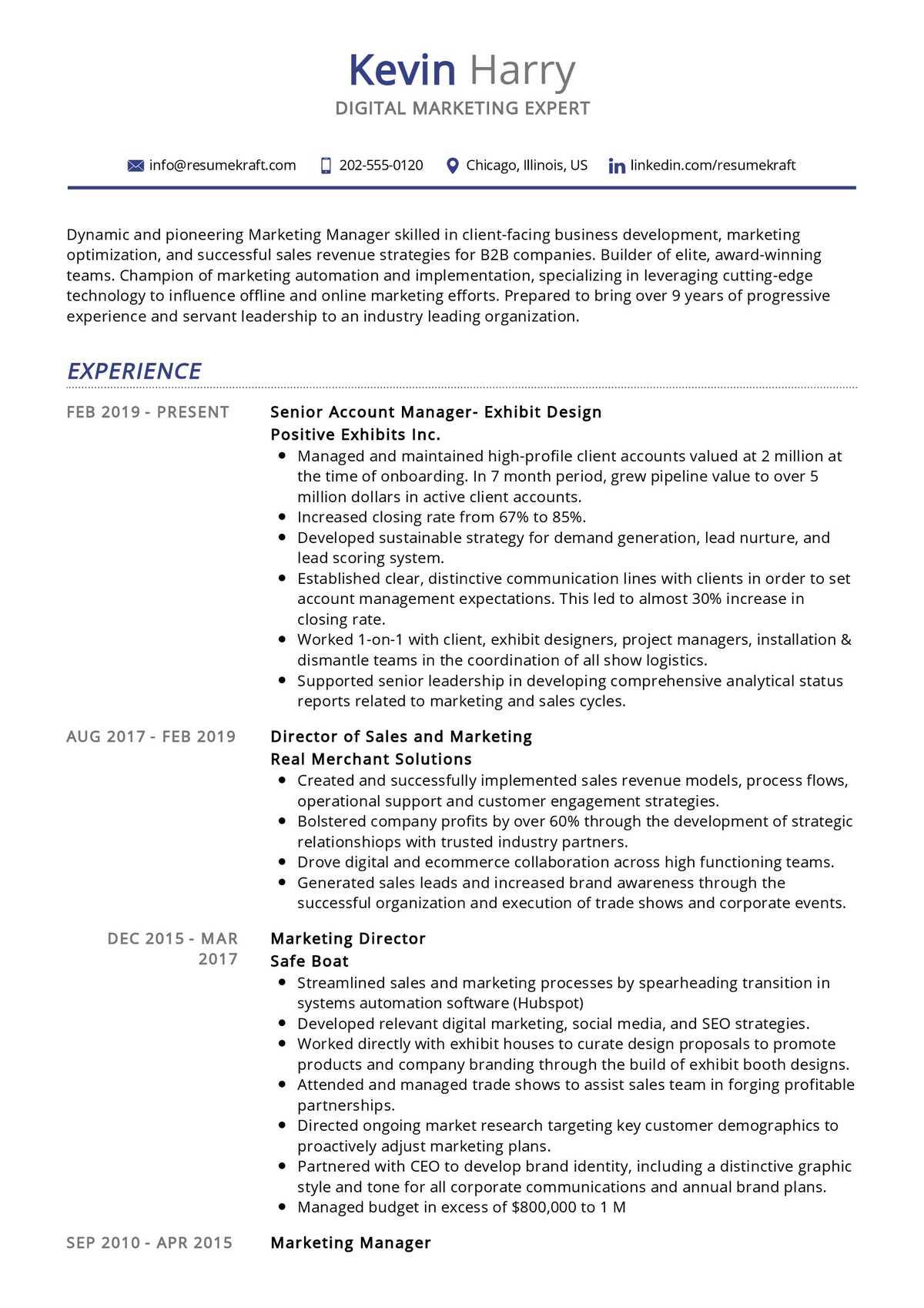 Digital Marketing Expert Resume