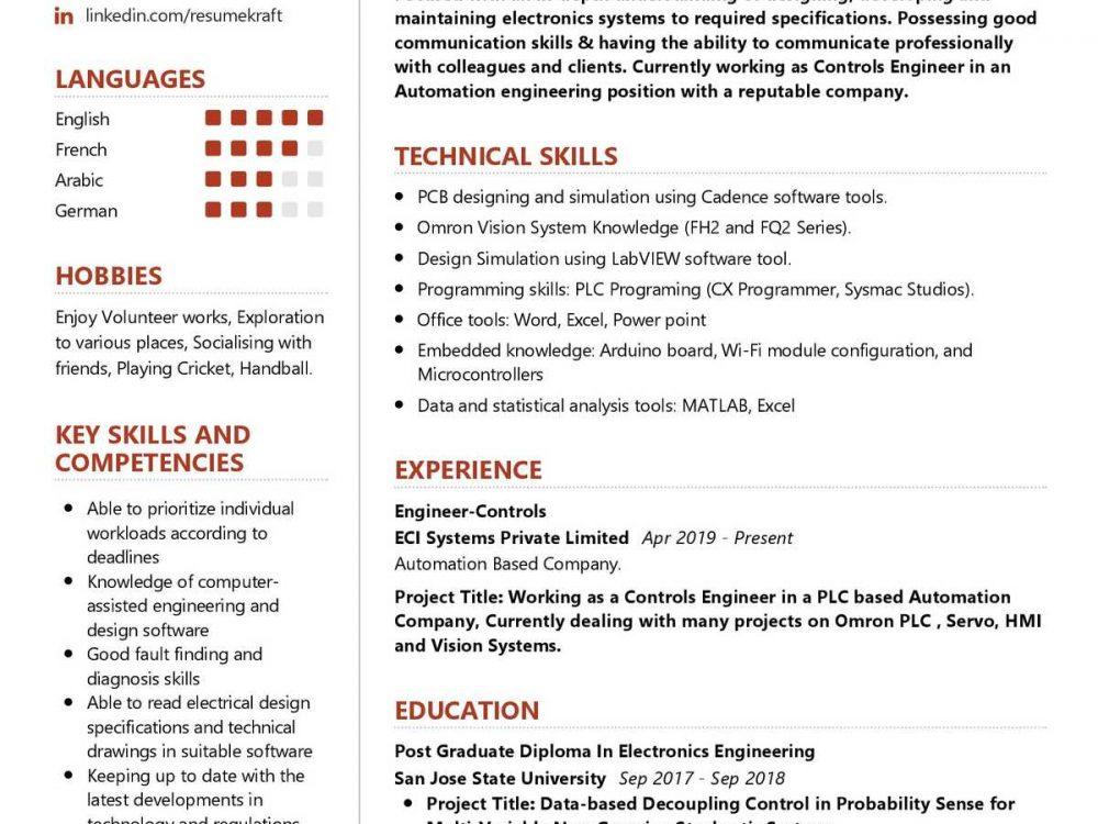 Engineer Controls Resume