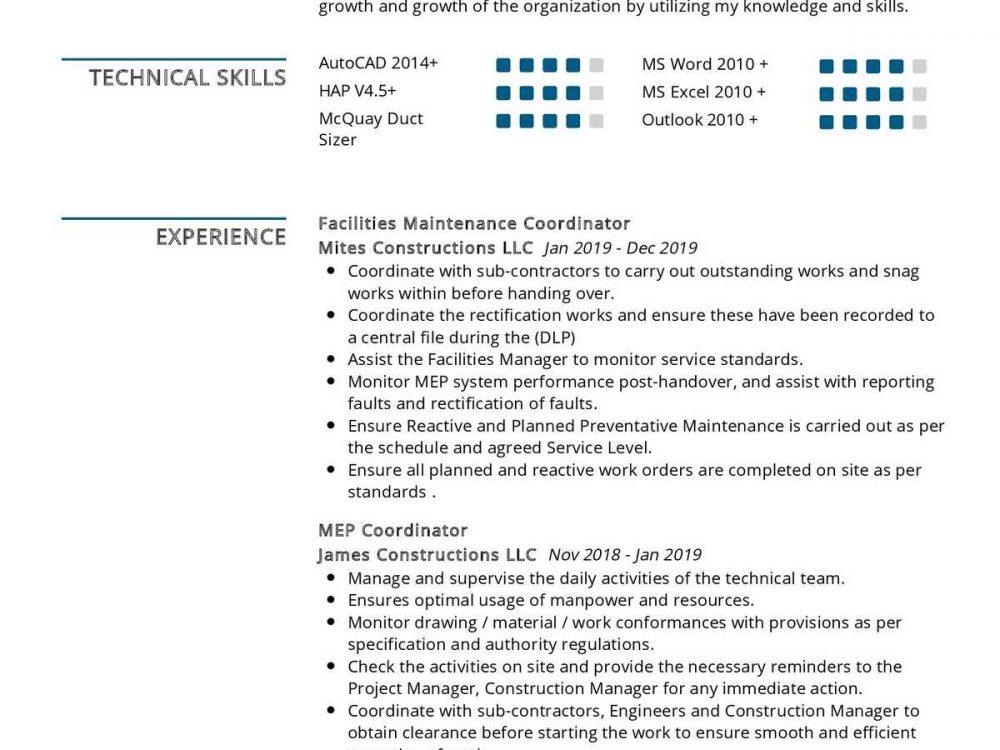 Facilities Coordinator Resume Sample