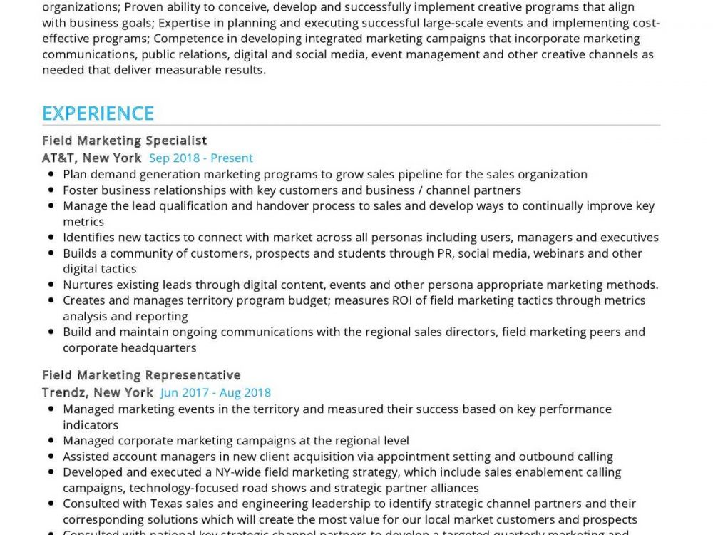 Field Marketing Specialist Resume