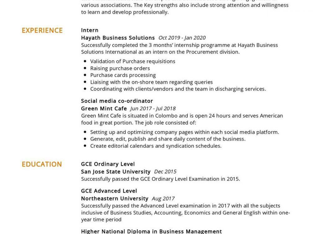 Final year Graduate Resume