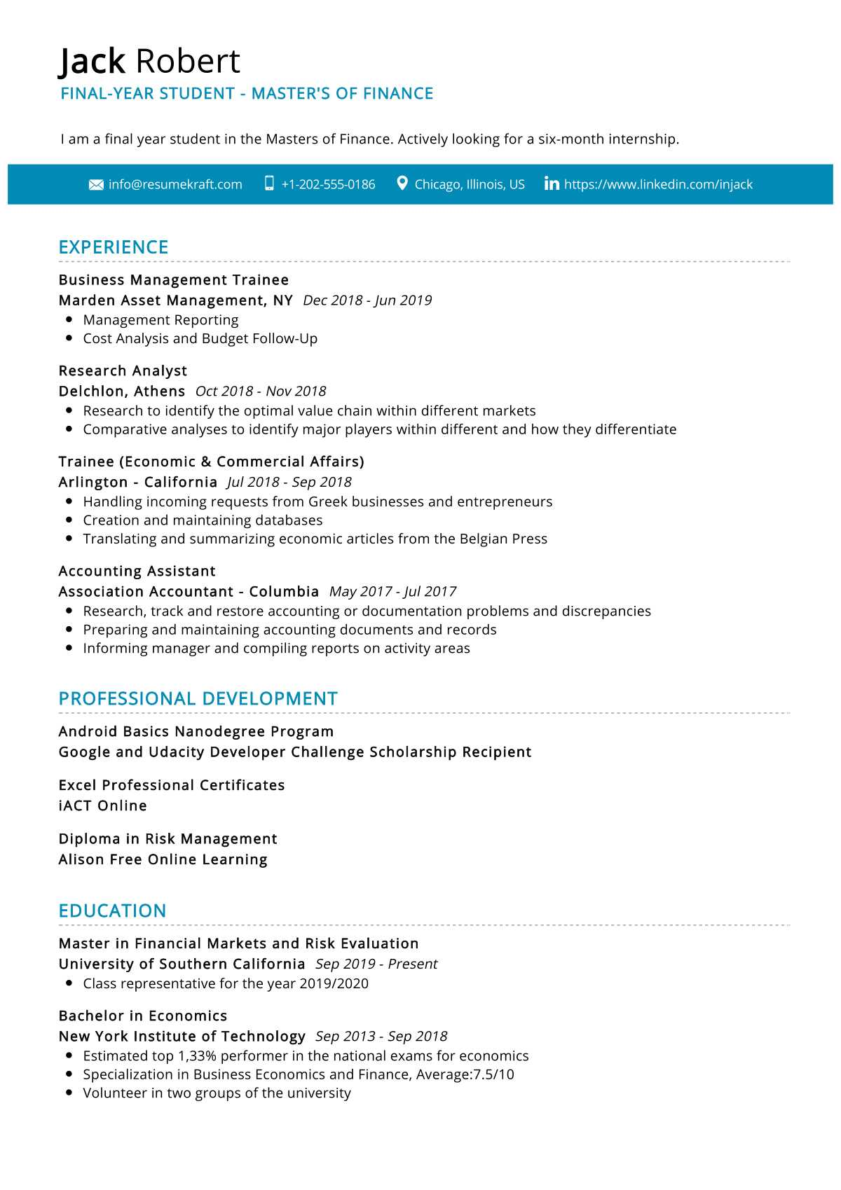 Final-year Student Resume