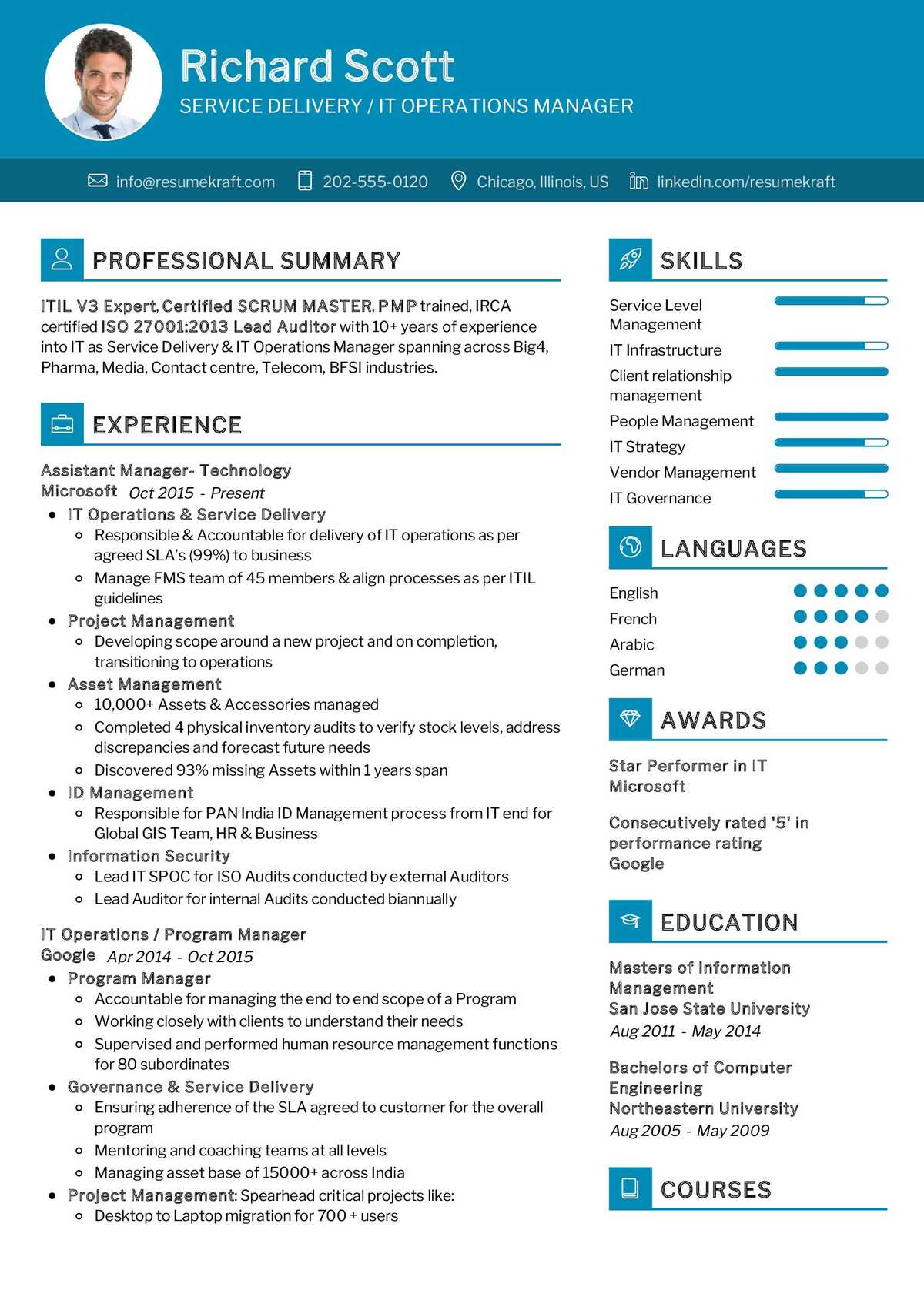 it operations manager resume sample  resumekraft