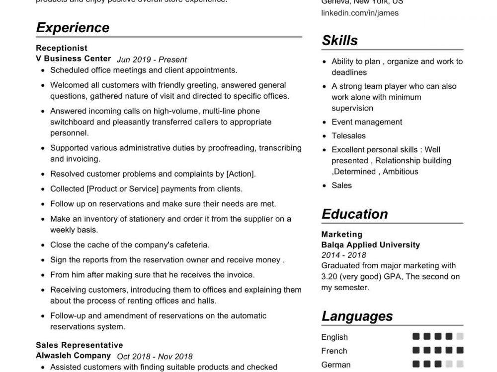 Marketer Resume Sample