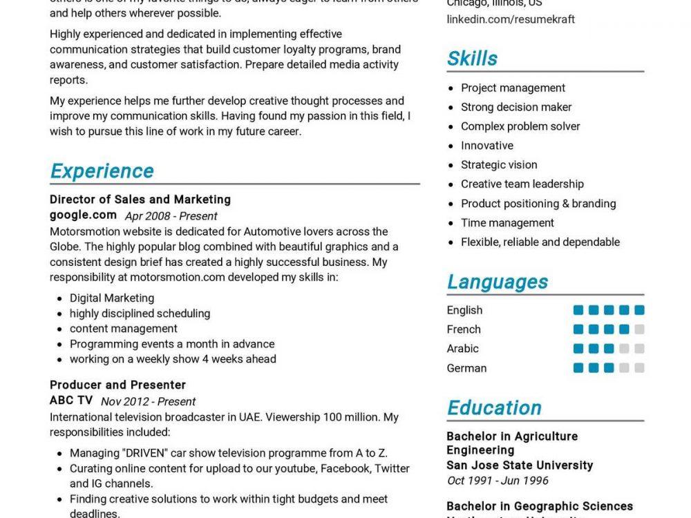 Marketing Communications Resume