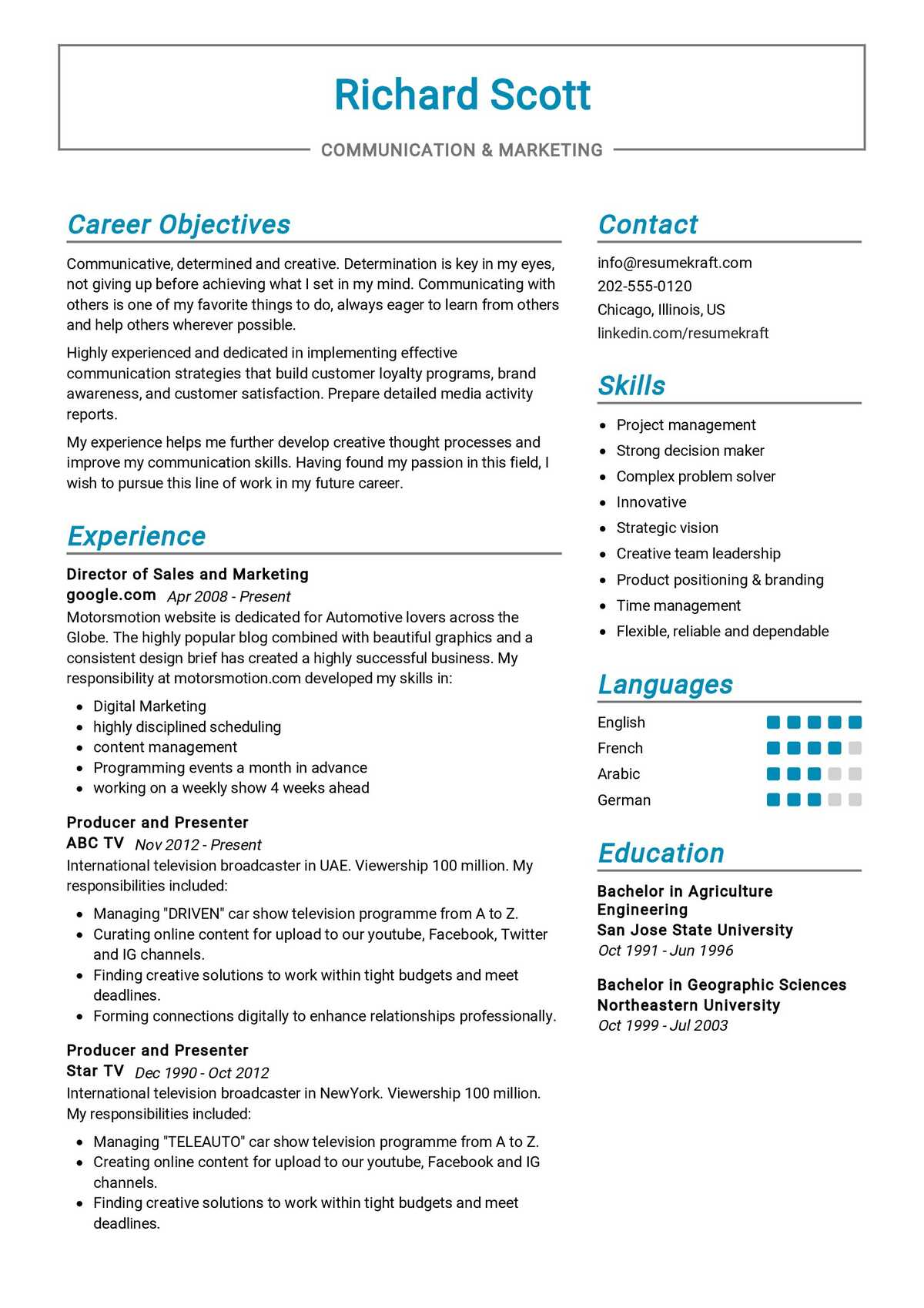marketing communications resume sample  resumekraft