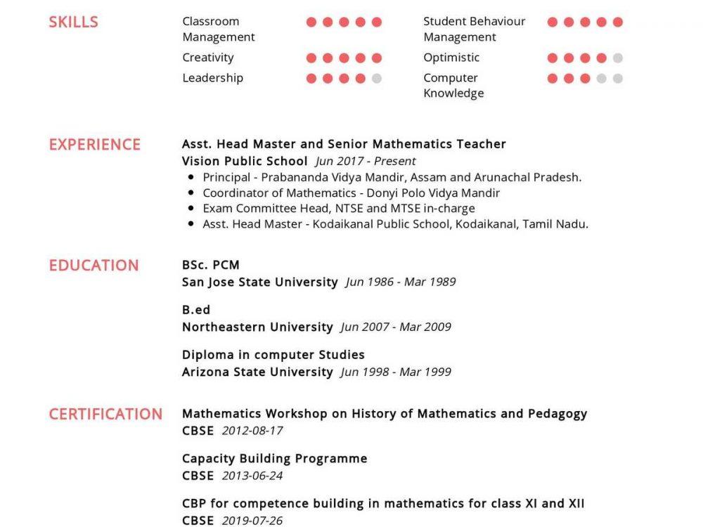Mathematics Teacher Resume