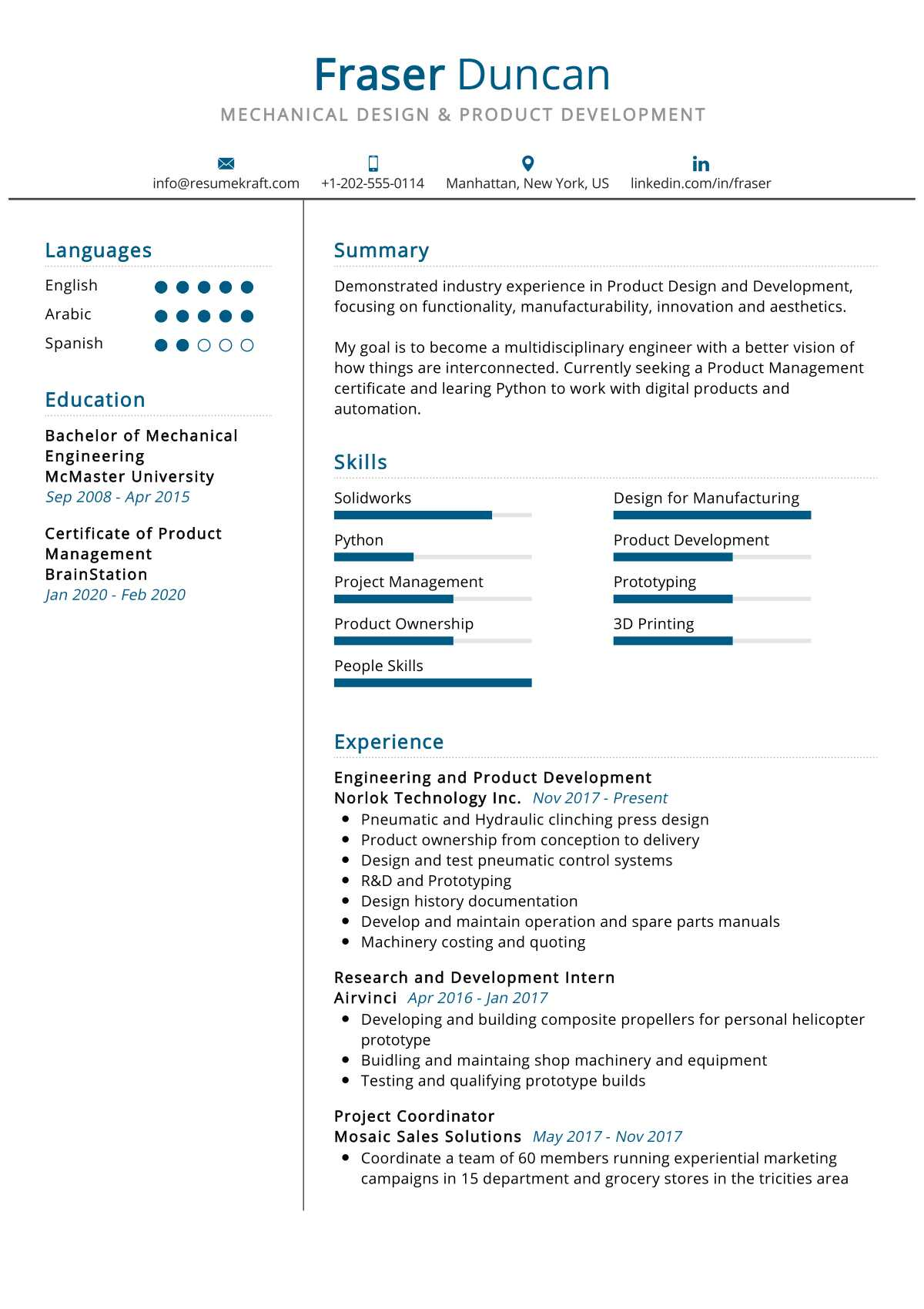 Mechanical Design Resume Sample