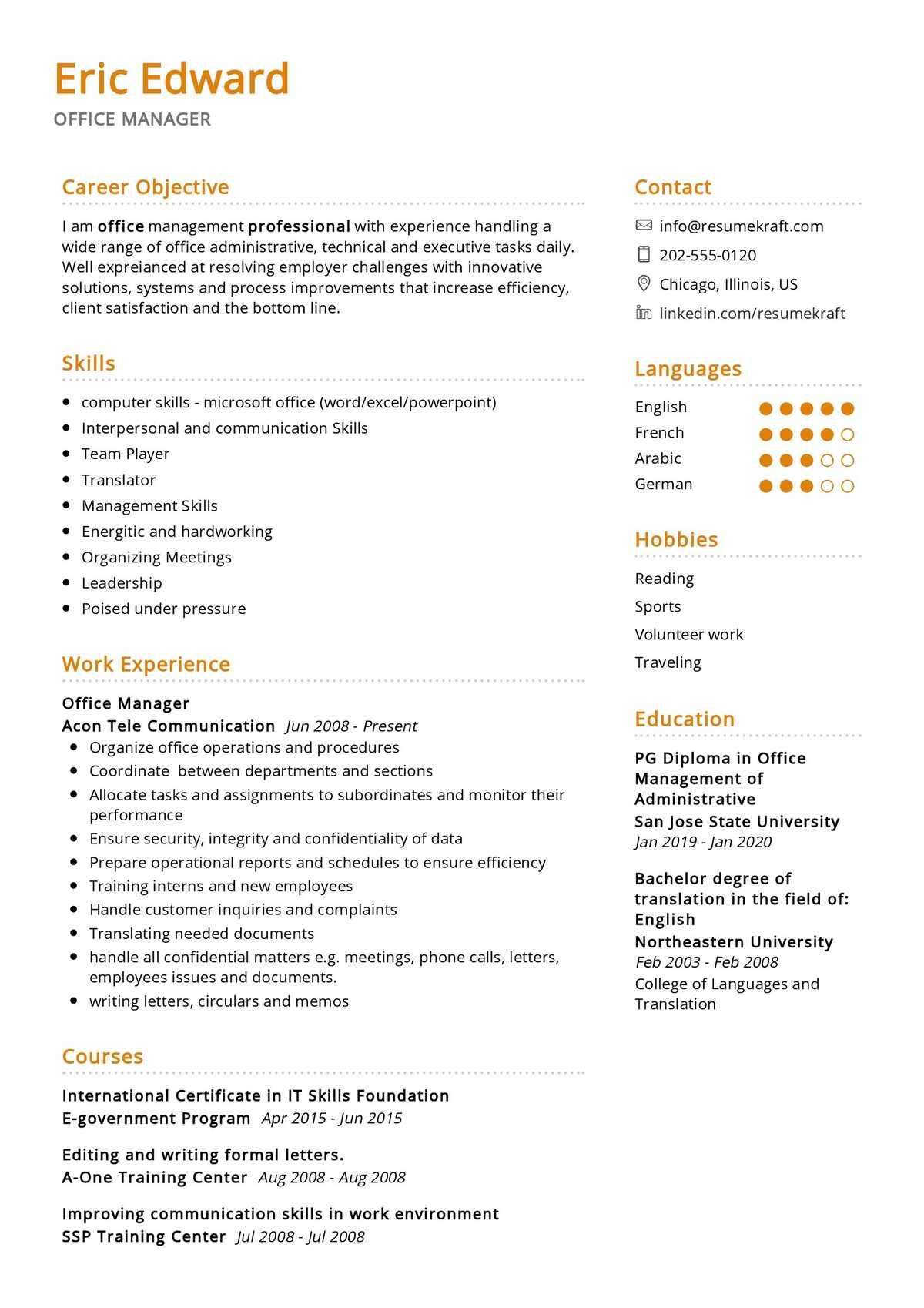 office manager resume sample  resumekraft