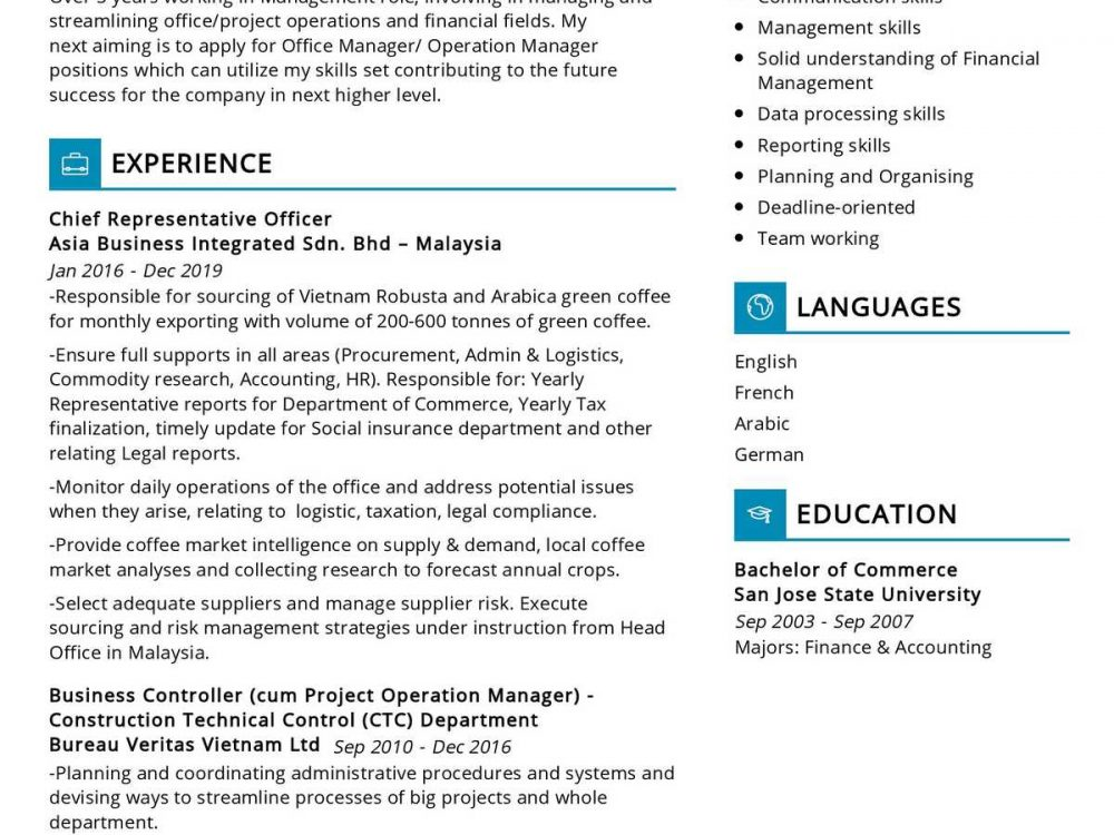 Operation Manager Resume Sample