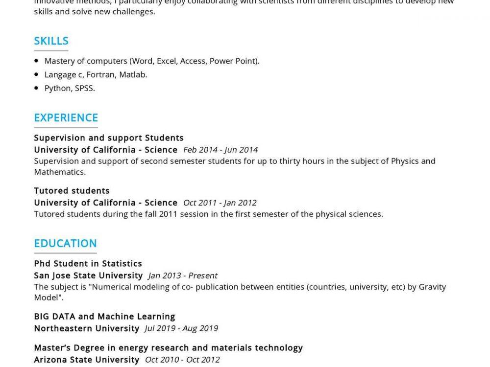 PhD Student Statistics Resume